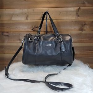 Coach Black Leather Avery Satchel